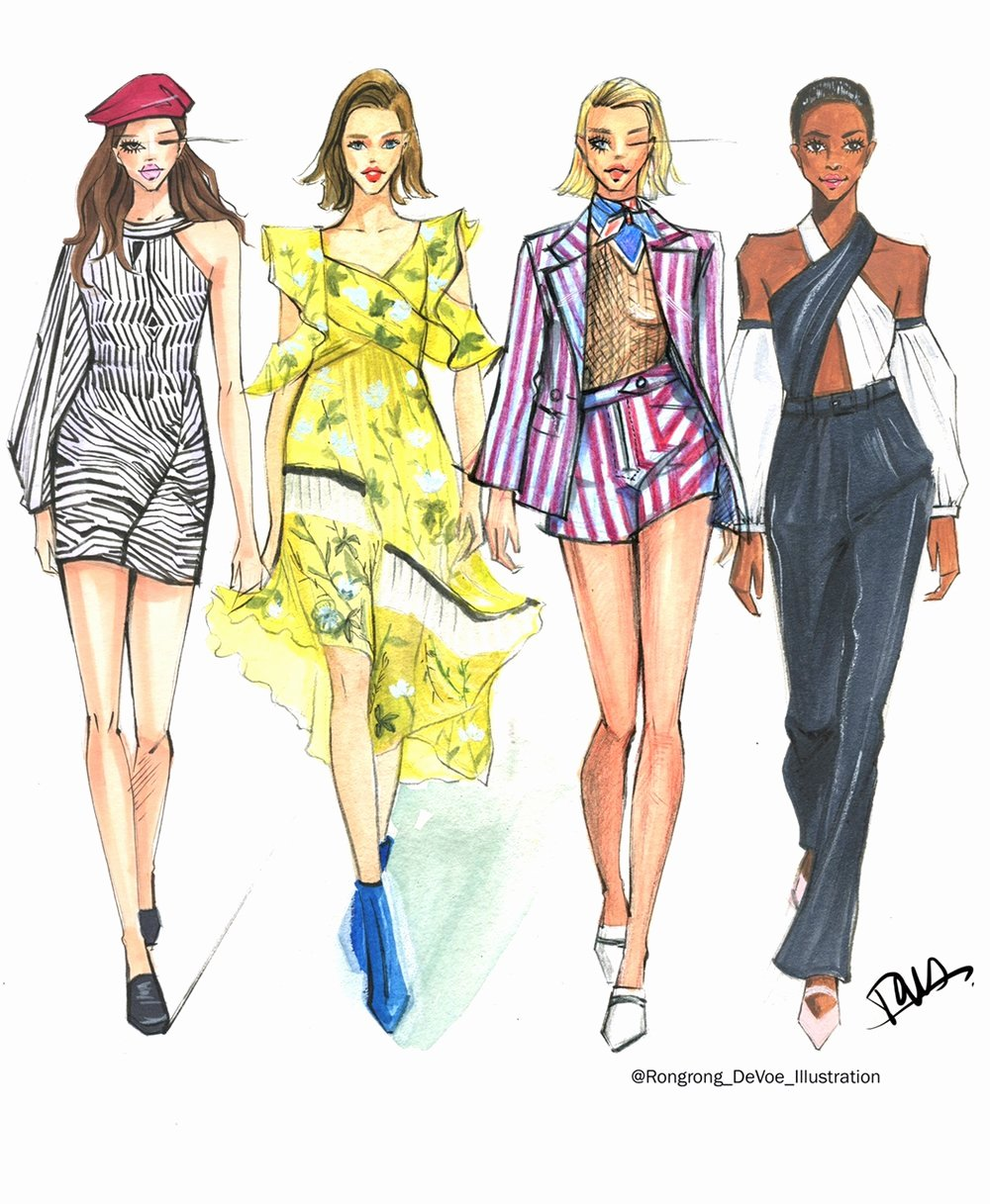 Fashion Designing Sketches Of Models Fresh Fashion Sketches Inspired by New York Fashion Week Ss18 Season — Fashion and Beauty Illustrator