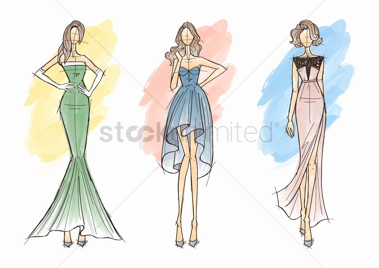 Fashion Designing Sketches Of Models Inspirational Collection Of Fashion Model Sketches Vector Image
