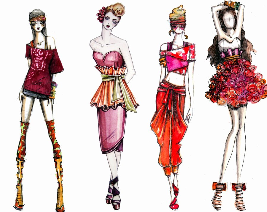 Fashion Designing Sketches Of Models Unique Kathryn Elyse Fashion Illustrations