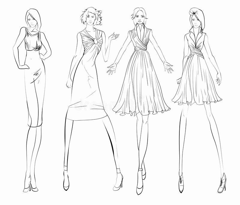Fashion Designing Sketches Of Models Unique Sketch Fashion Girl Stock Illustration Illustration Of Mannequin
