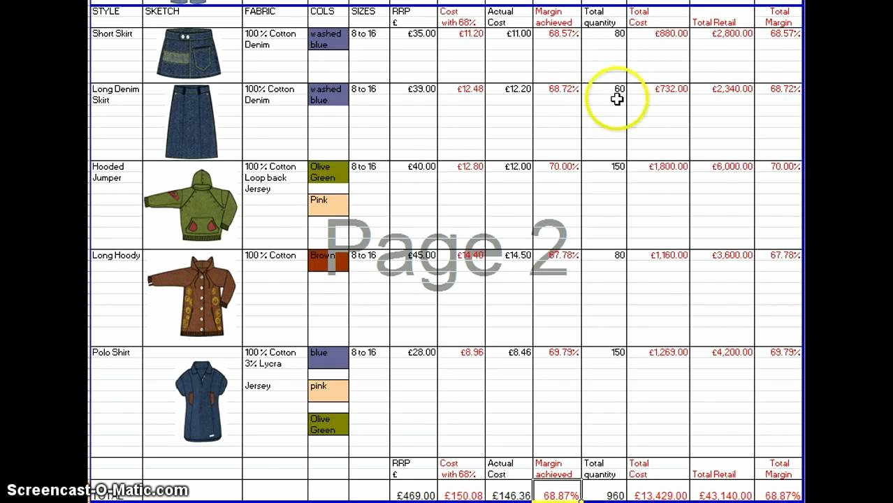 Fashion Line Sheet Template New Range Plan Template
