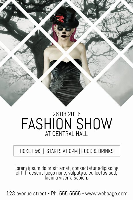 Fashion Show Flyers Templates Beautiful Fashion Show event Flyer Template with Background Photo