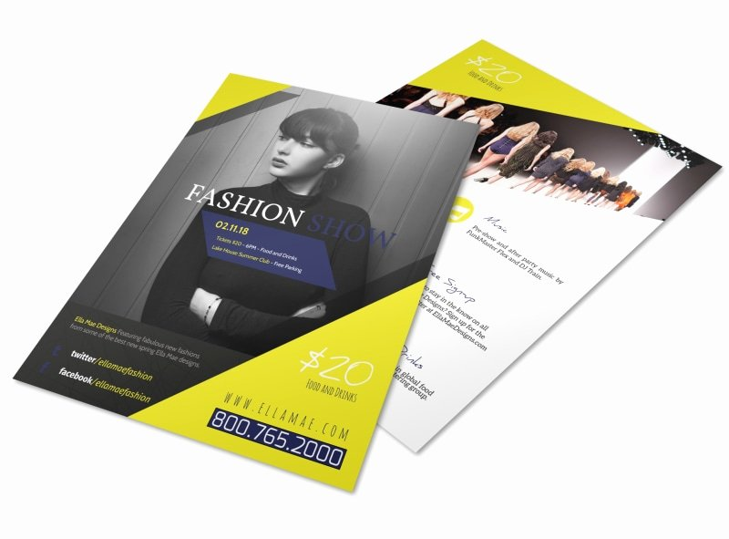 Fashion Show Flyers Templates Inspirational Yellow Fashion Show Flyer Template