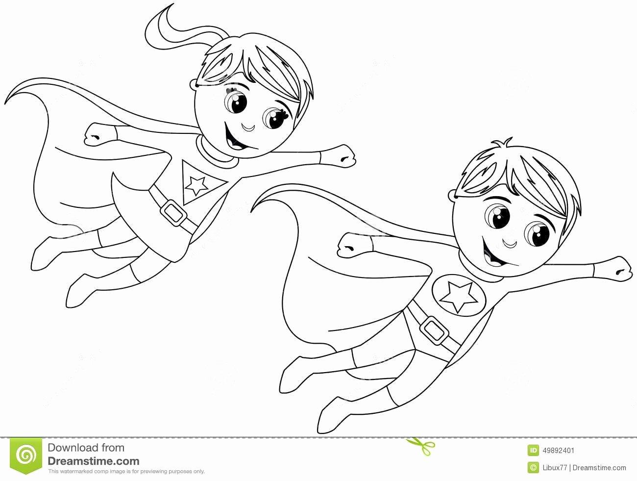 Female Superhero Coloring Pages Luxury Happy Superhero Kid Kids Flying isolated Coloring Page Stock Heros Pinterest