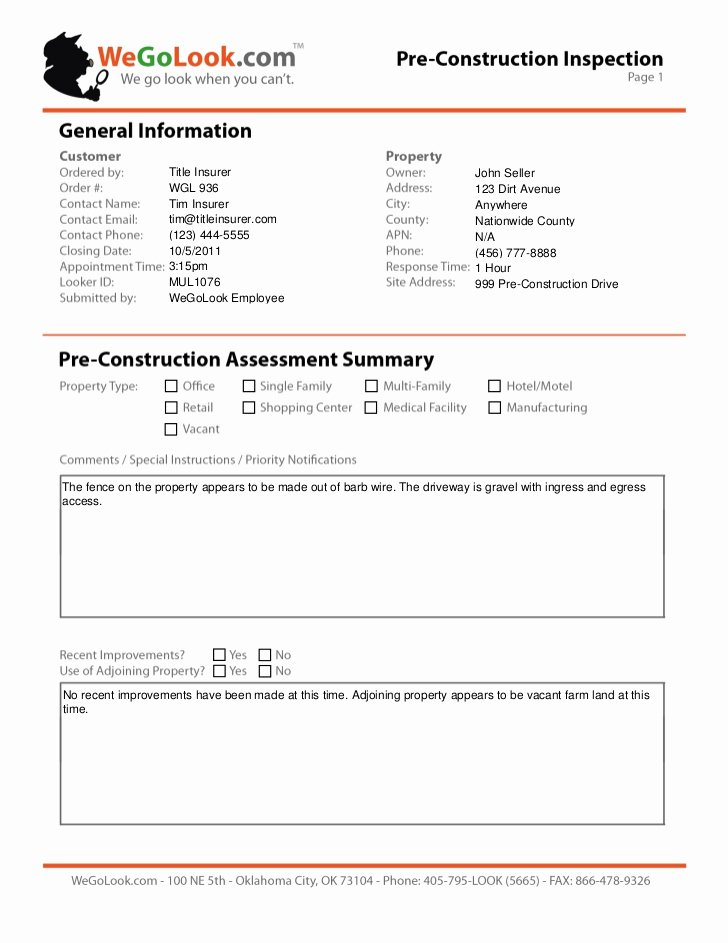 Field Service Report Template Fresh Field Services Pre Construction Site Inspection Sample Report