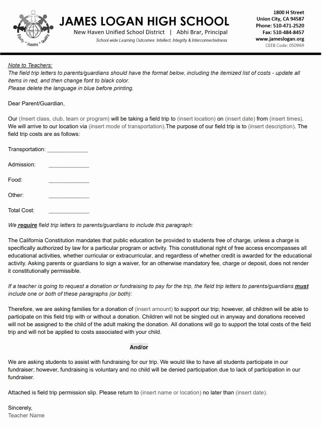 Field Trip Permission Slip Pdf Inspirational Field Trip Planning — James Logan High School