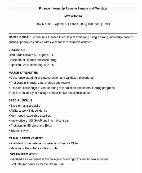Finance Resume Template Word Beautiful 20 Finance Resume Templates Pdf Doc