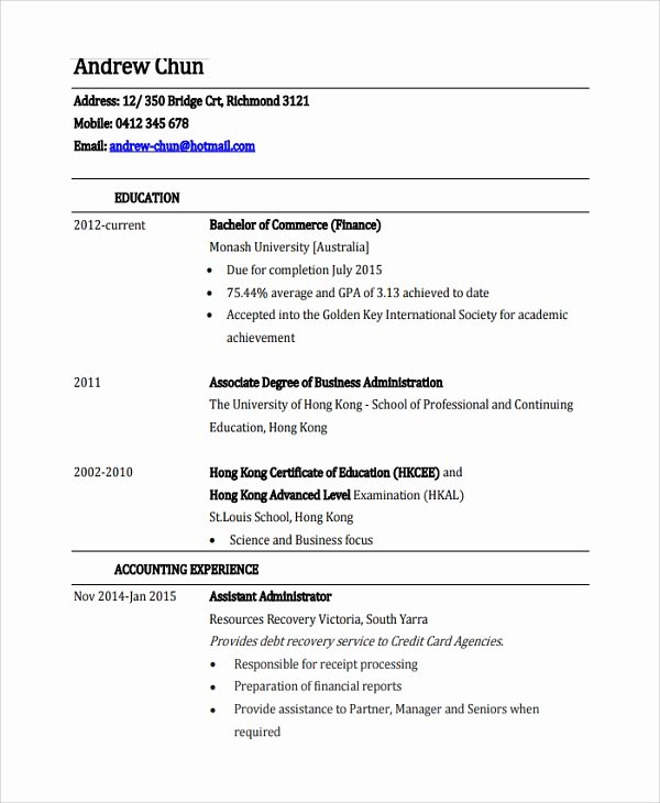 Finance Resume Template Word Beautiful Sample Finance Resume Template 7 Free Documents Download In Pdf Word
