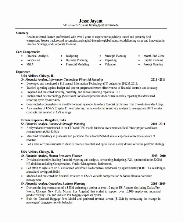 Finance Resume Template Word Best Of Sample Finance Resume Template 7 Free Documents Download In Pdf Word