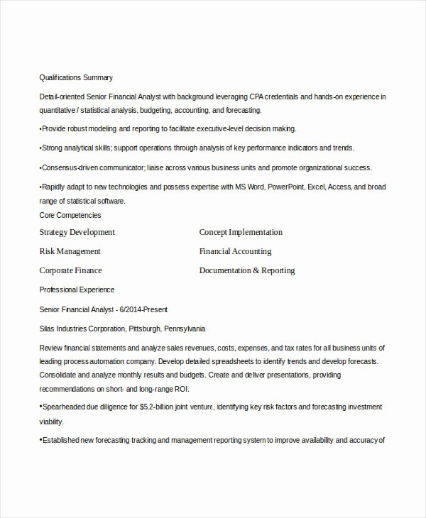 Finance Resume Template Word Elegant 15 Finance Resume Templates Pdf Doc