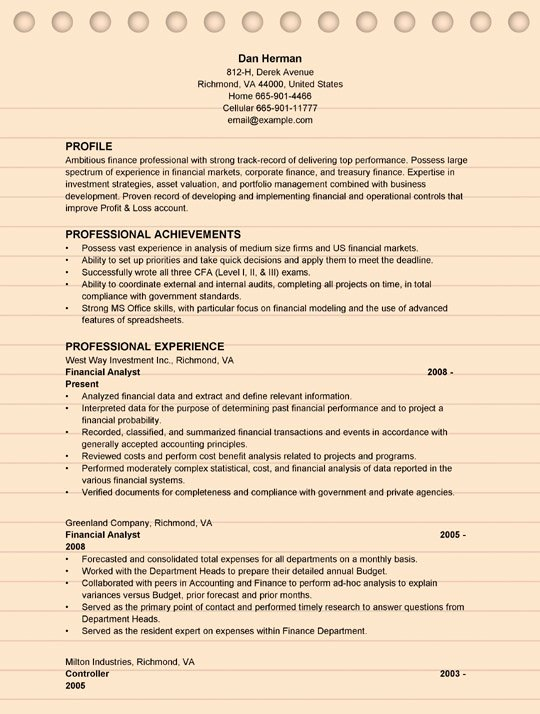 Finance Resume Template Word Fresh 4 Financial Analyst Resume Examples Ms Word format