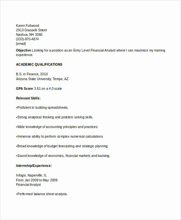 Finance Resume Template Word Inspirational Best Finance Resume Templates 31 Free Word Pdf Documents Download