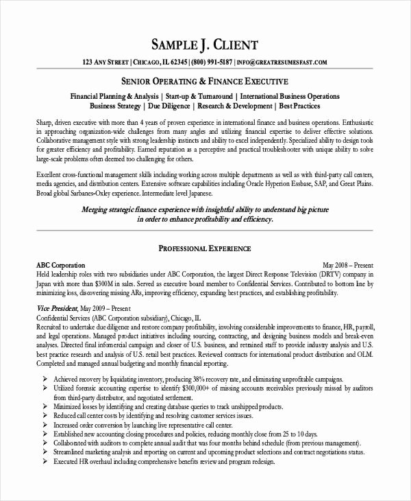 Finance Resume Template Word Luxury 10 Finance Resume Templates Pdf Doc