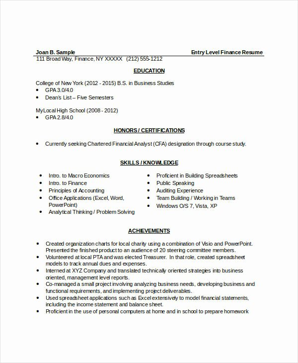 Finance Resume Template Word New 10 Finance Resume Templates Pdf Doc