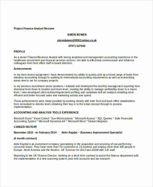 Finance Resume Template Word New 15 Finance Resume Templates Pdf Doc