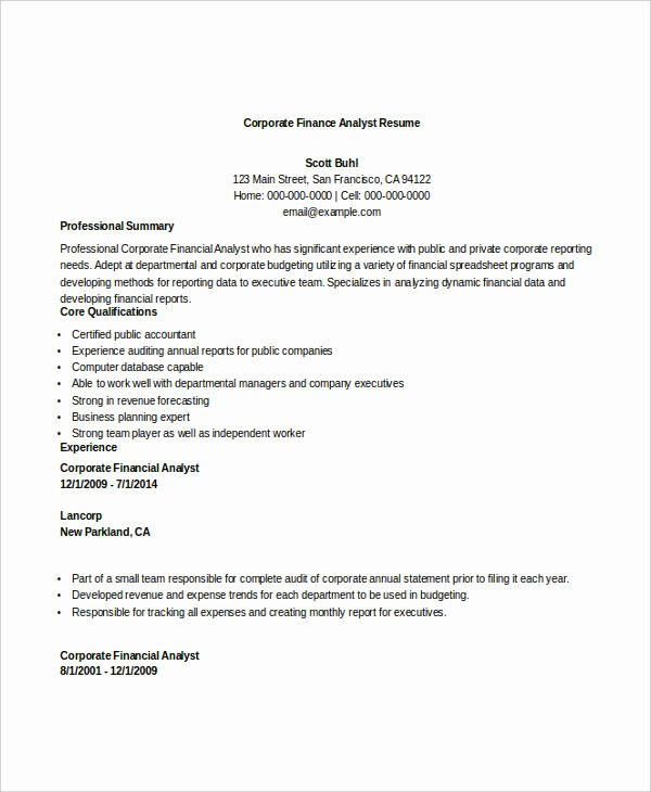 Finance Resume Template Word New 28 Finance Resume Templates Pdf Doc