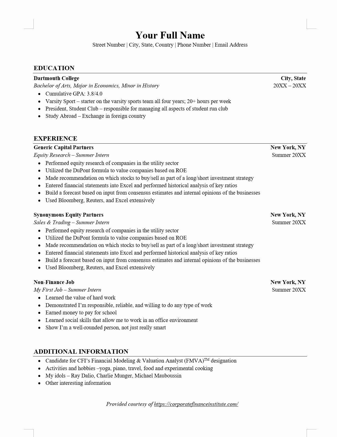 Finance Resume Template Word Unique Investment Banking Ib Resume Word Template Download Free Template