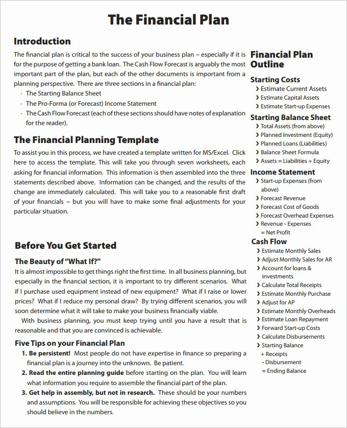 Financial Advisor Business Plan Lovely Financial Business Plan Template 11 Premium Word Excel Pdf Documents Download
