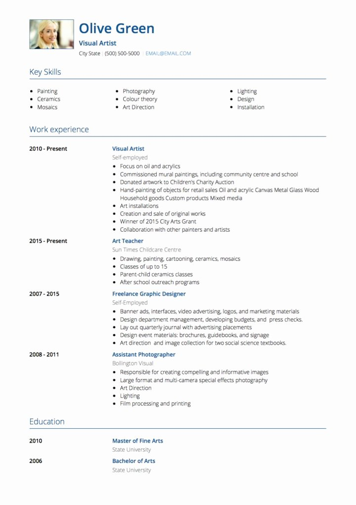 Fine Artist Resume Template Best Of Artist Cv Examples and Template