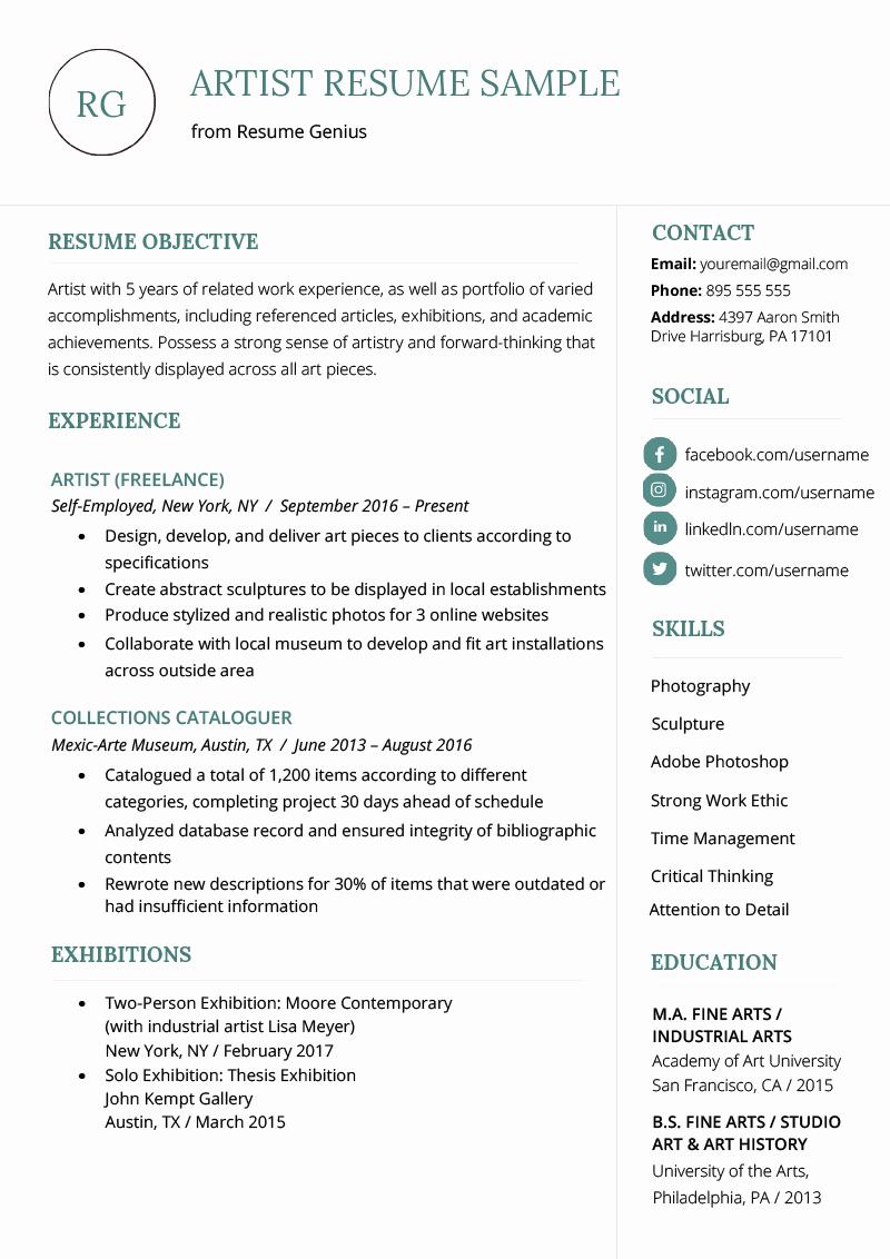 artist resume example