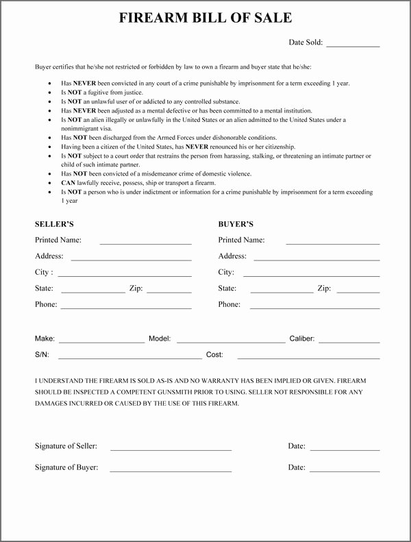 Firearm Bill Of Sale Florida Best Of Firearm Bill Sale form