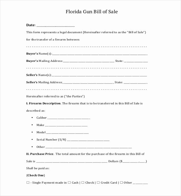 Firearm Bill Of Sale Florida Elegant Free 10 Sample Bill Of Sale for Firearms