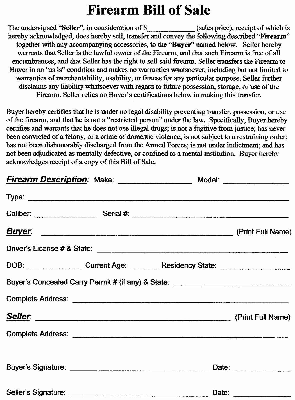 Firearm Bill Of Sale Florida Lovely Firearm Bill Of Sale