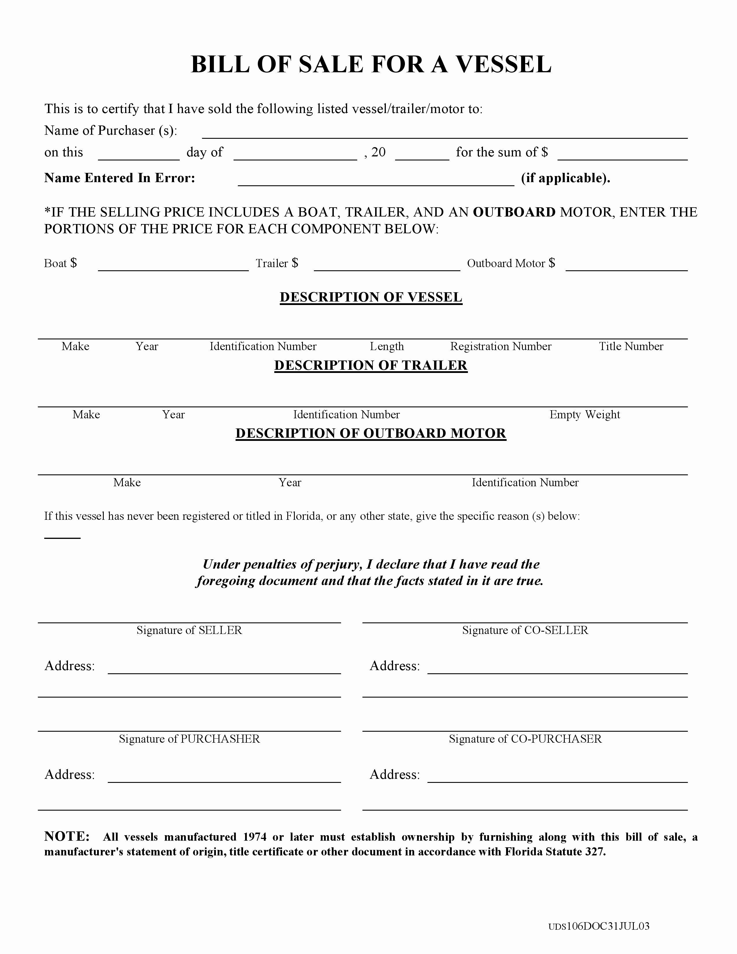 Firearm Bill Of Sale Florida Luxury Free Florida Boat Bill Of Sale form Pdf