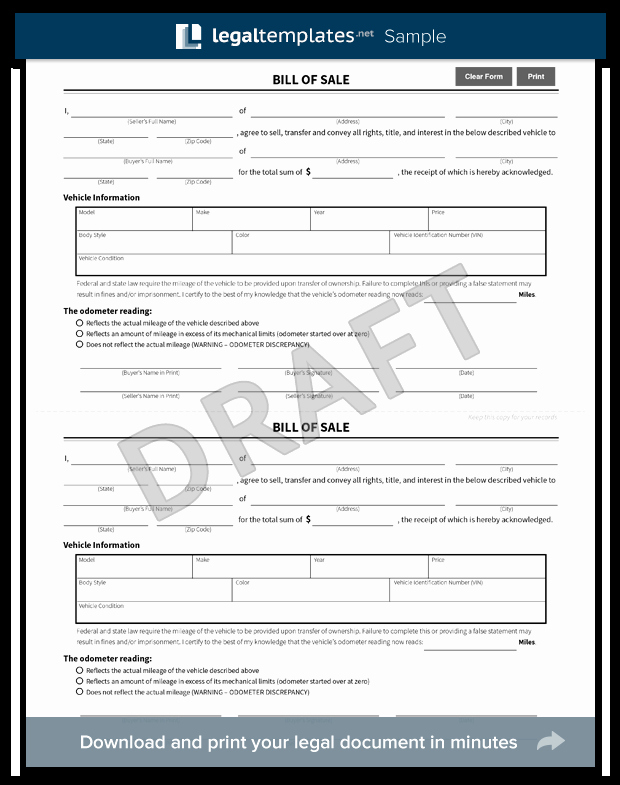 Firearm Bill Of Sale Florida New Free Bill Of Sale forms Pdf & Word Templates