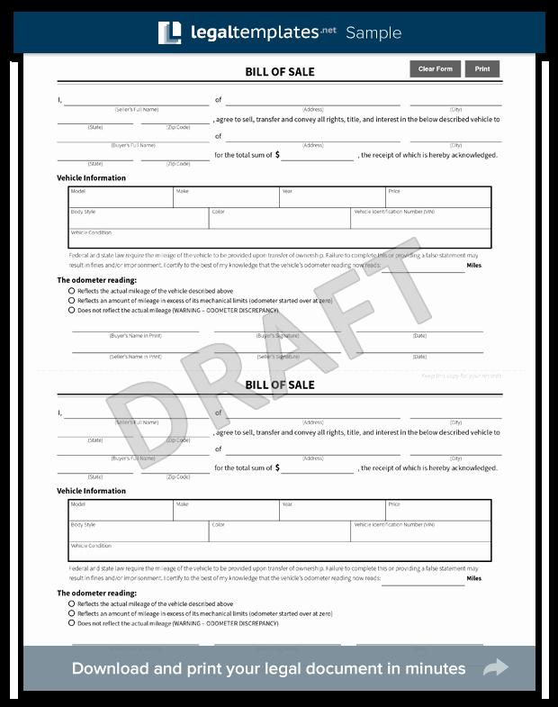 Firearm Bill Of Sale Florida New Free Bill Of Sale forms Pdf & Word Templates