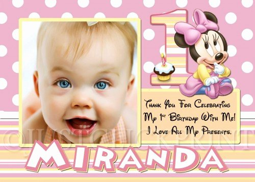 First Birthday Thank You Cards Awesome Baby Minnie Mouse First Birthday Thank You Card Printable