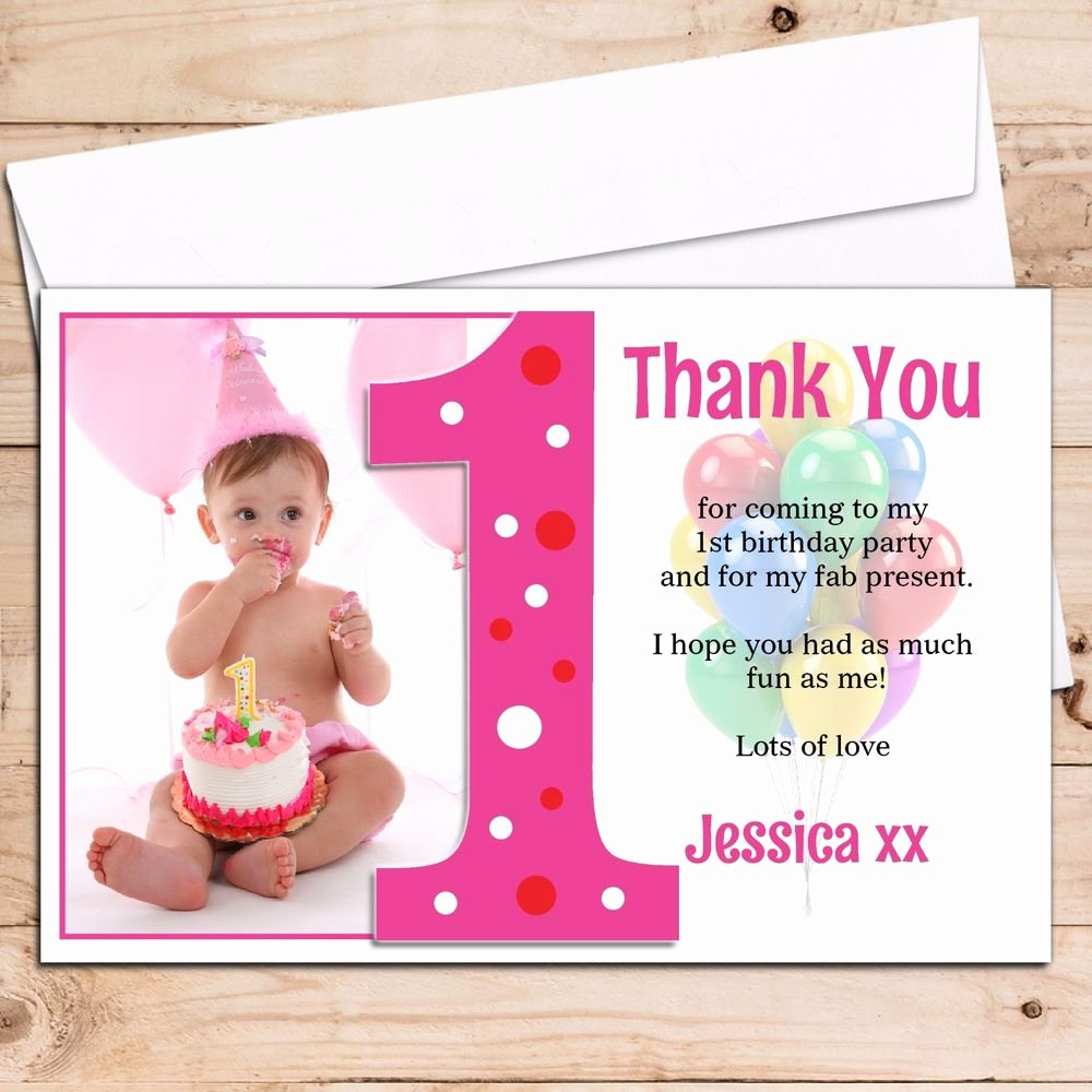 First Birthday Thank You Cards Beautiful 10 Personalised Girls 1st First Birthday Thank You Photo Cards N192