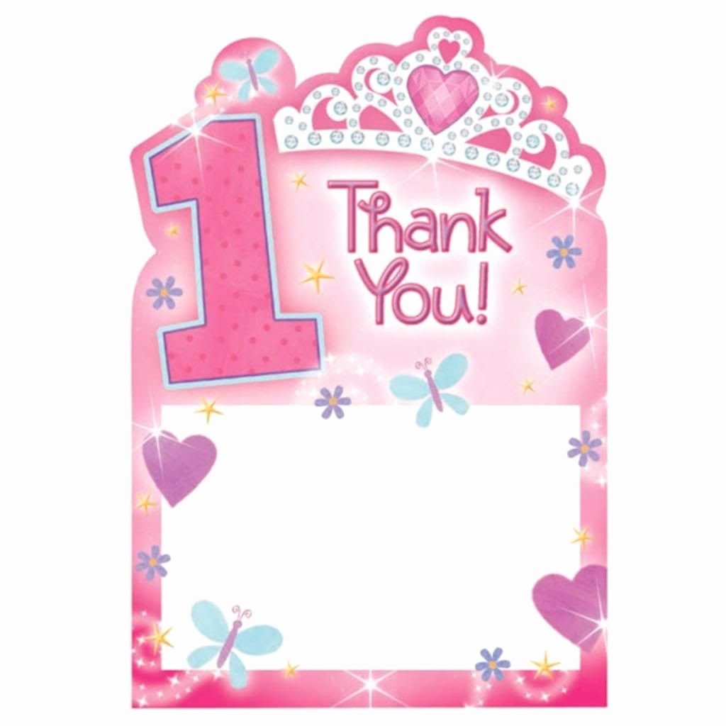First Birthday Thank You Cards Beautiful 20 Girl S Pink 1st Birthday Princess Thank You Cards