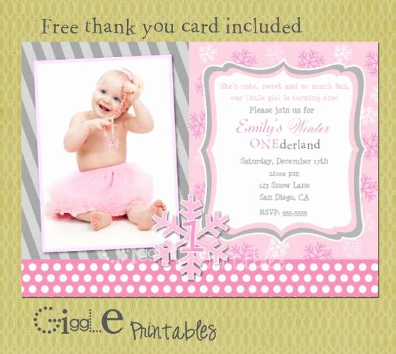 First Birthday Thank You Cards Beautiful Winter 1st Birthday Invitation Free Thank You Card Included