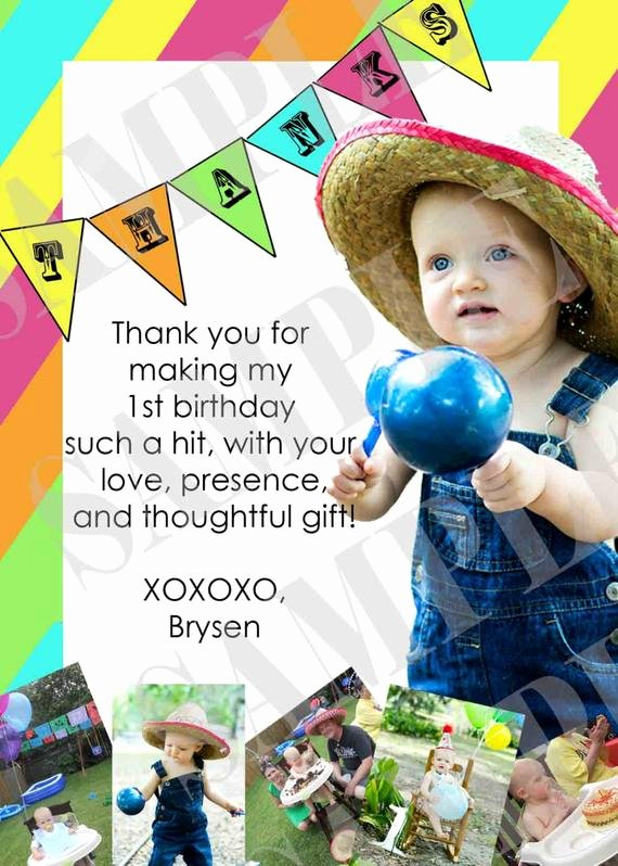 First Birthday Thank You Cards Best Of Fiesta 1st Birthday Thank You Card
