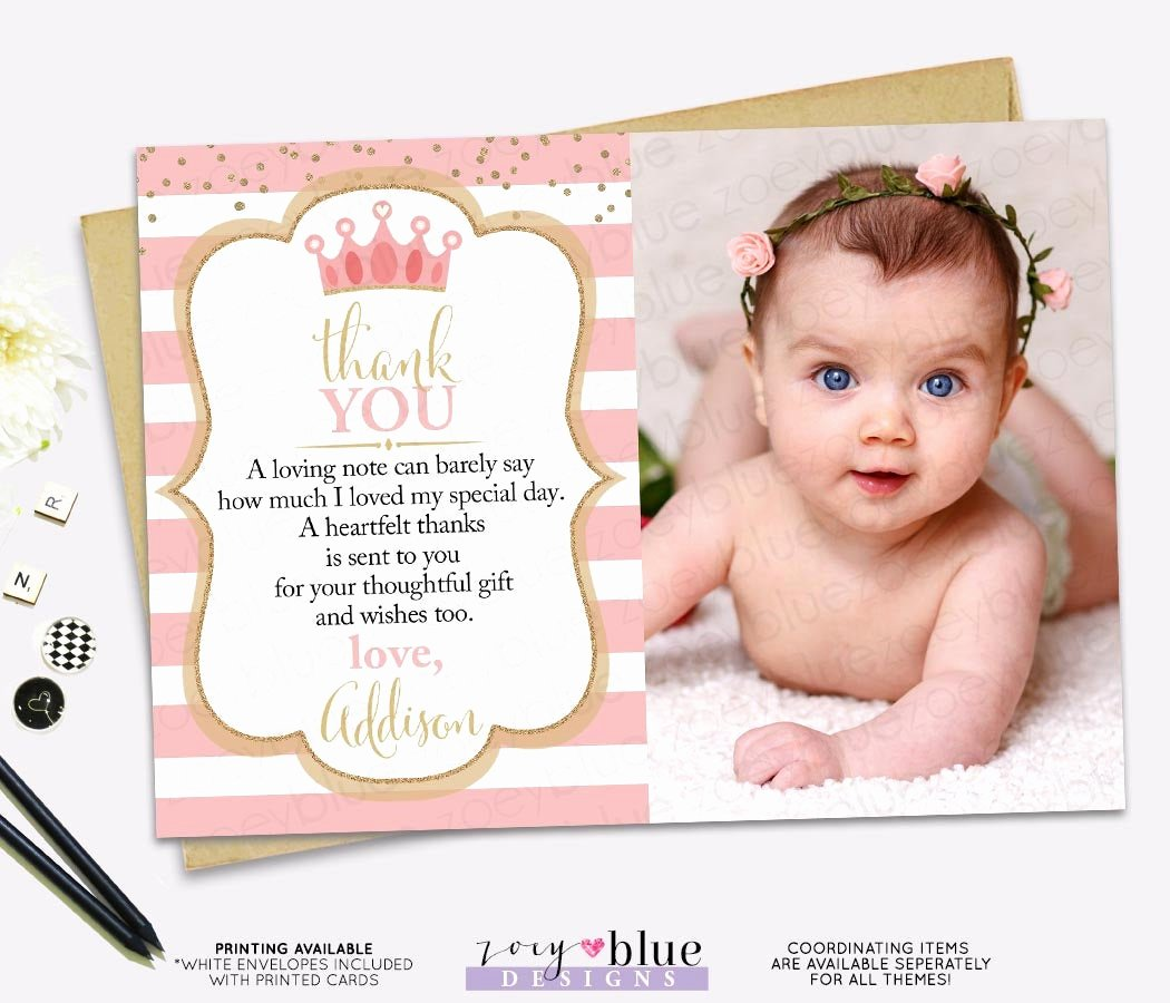 First Birthday Thank You Cards Best Of Princess Thank You Card Pink Gold Princess Birthday Thank
