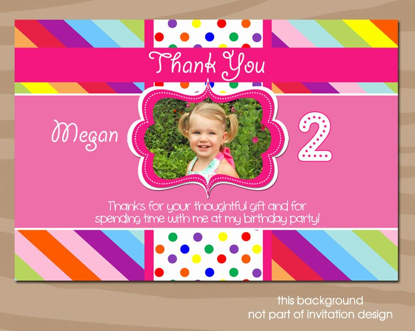 First Birthday Thank You Cards Elegant Items Similar to Rainbow Thank You Card Colorful 1st Birthday 2nd Birthday Any Age