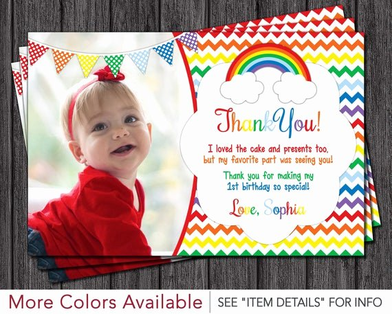 First Birthday Thank You Cards Elegant Rainbow Thank You Card Rainbow Birthday Thank You Cards
