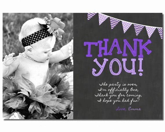 First Birthday Thank You Cards Fresh First Birthday Thank You Card 1st Birthday by Puggyprints On Etsy