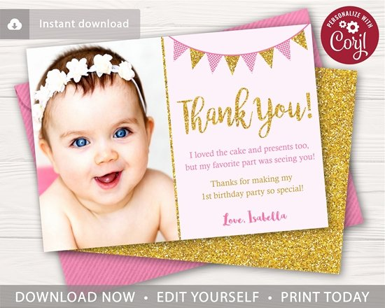 First Birthday Thank You Cards Inspirational Pink and Gold Birthday Thank You Card with