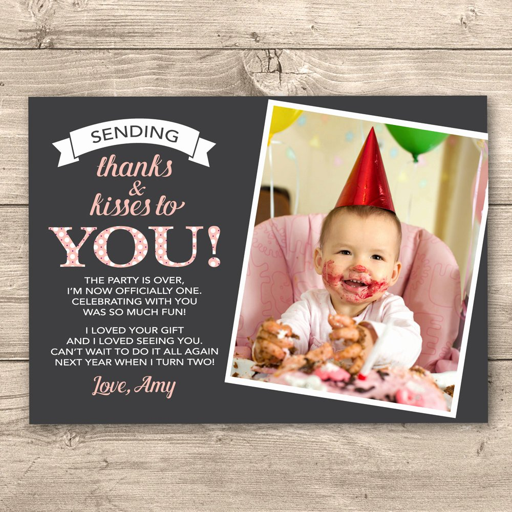 First Birthday Thank You Cards Lovely Girls 1st Birthday Thank You Card Digital by Inkandcarddesigns