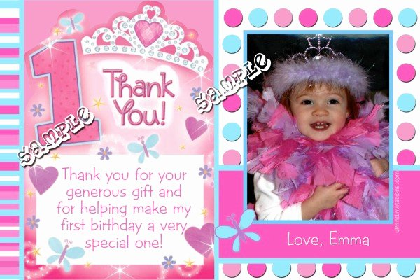 First Birthday Thank You Cards Luxury Princess 1st Birthday Thank You Cards