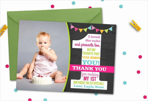 First Birthday Thank You Cards New 30 Thank You Card Designs and Examples