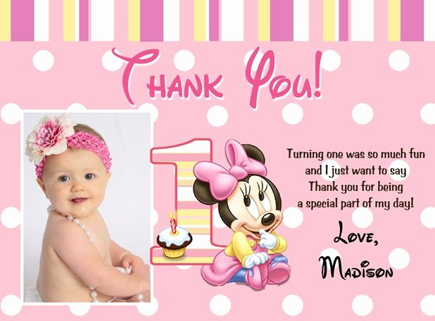 First Birthday Thank You Cards New Printable Minnie Mouse Thank You Card