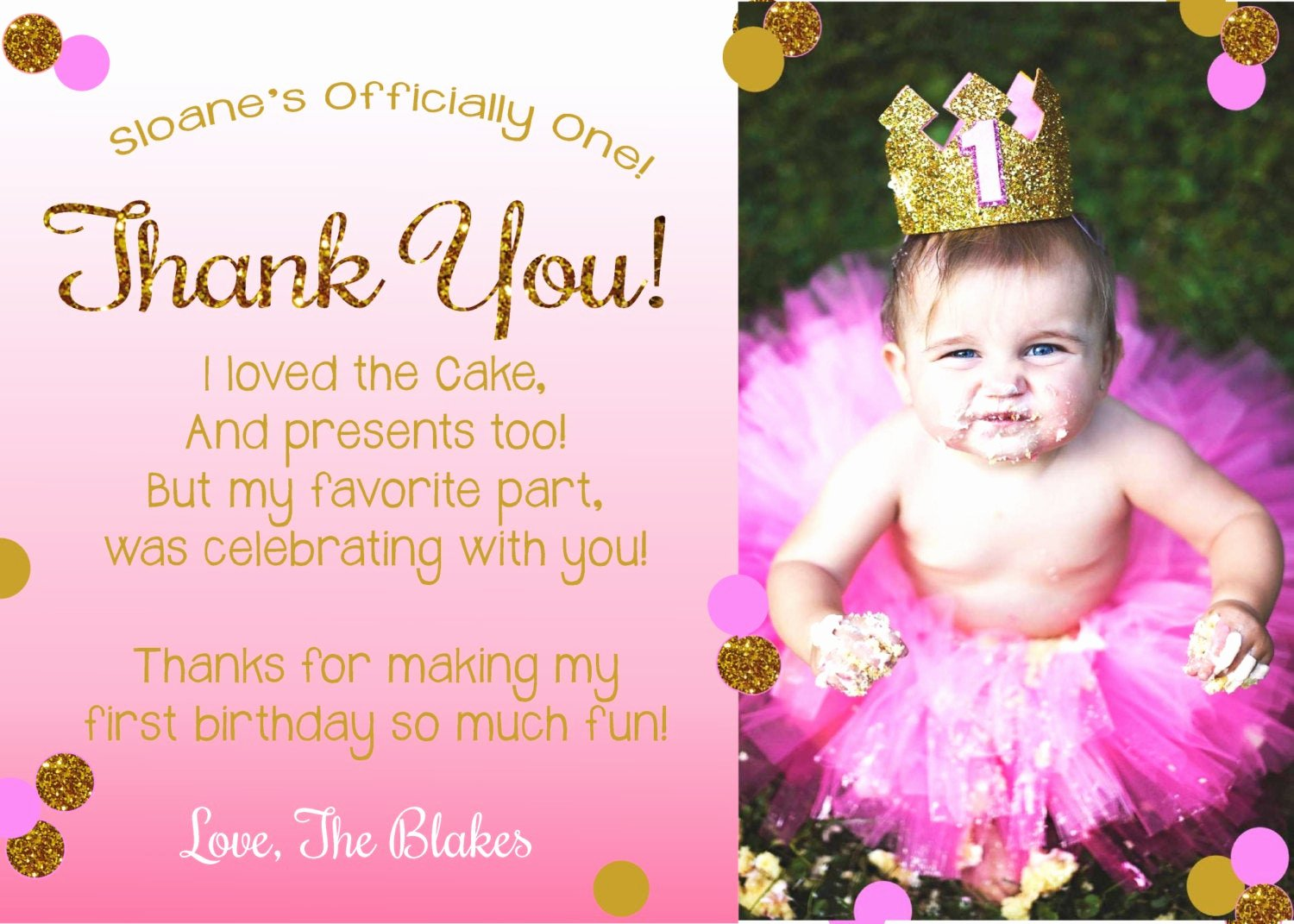 First Birthday Thank You Cards Unique Pink and Gold Thank You Card First Birthday Thank You Card