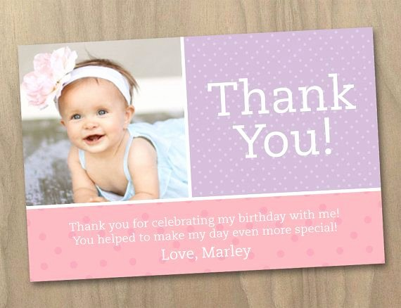 First Birthday Thank You Cards Unique Thank You Post Card Baby Girl First 1st Birthday Invitation Pink and Purple Polka