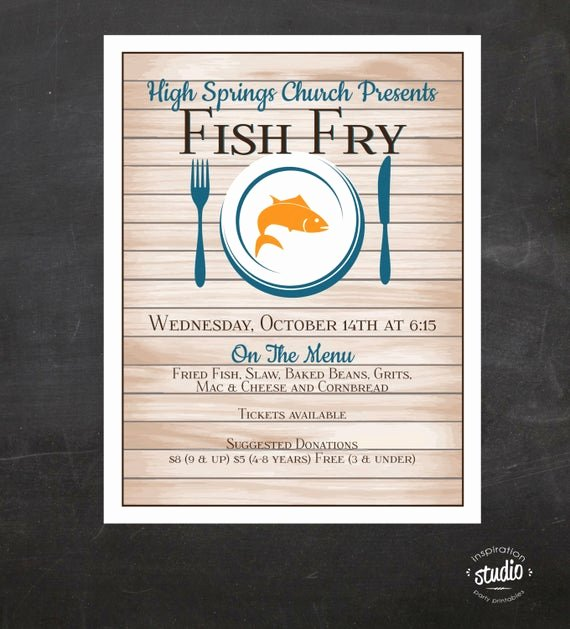 Fish Fry Flyer Template Luxury Fish Fry Flyer Custom event Printable Color Church