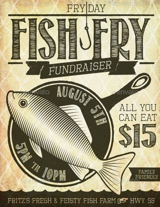 Fish Fry Flyer Template Unique Fish Fry event Fundraiser Poster Flyer or Ad Diy