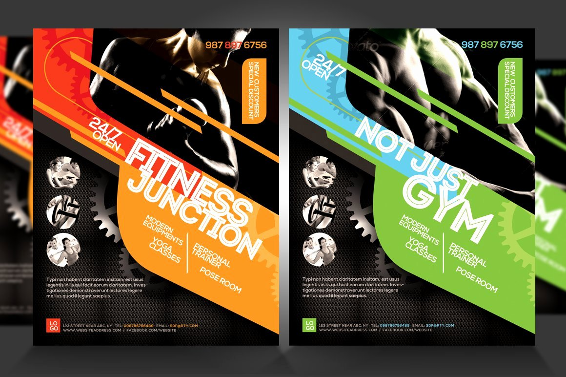 Fitness Flyer Template Free Awesome Fitness Flyer Gym Flyer V5 Flyer Templates Creative Market