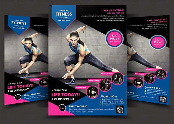 Fitness Flyer Template Free Lovely Fitness Flyer Flyer Templates Creative Market